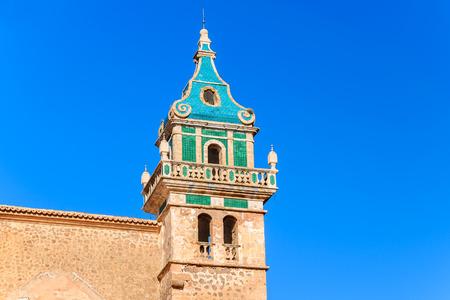 Church tower in Valdemossa village, Majorca island, Spain Stock Photo