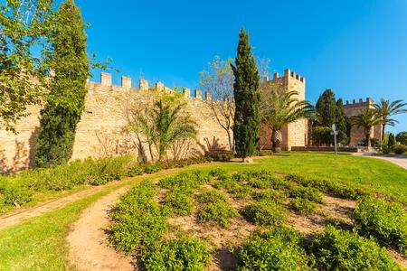 Public garden area in front of Alcudia castle, Majorca island, Spain
