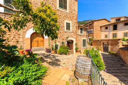 Stone houses in Fornalutx mountain village, Majorca island