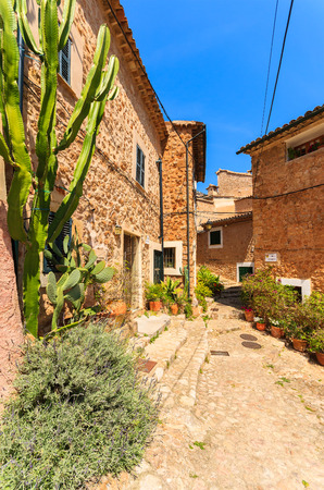 Narrow street old traditional houses village flowers, Fornalutx, Majorca island, Spain