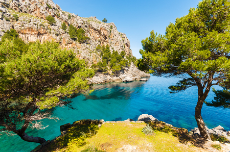 View of beautiful Sa Calobra bay, Majorca island, Spain