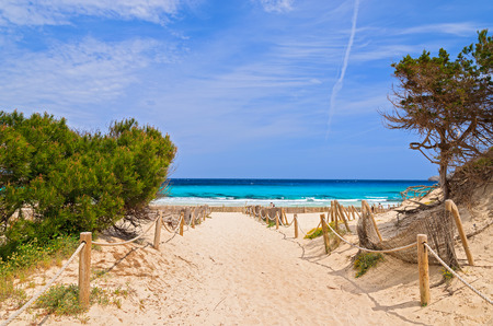 Entrance to sandy Cala Agulla beach, Majorca island, Spain