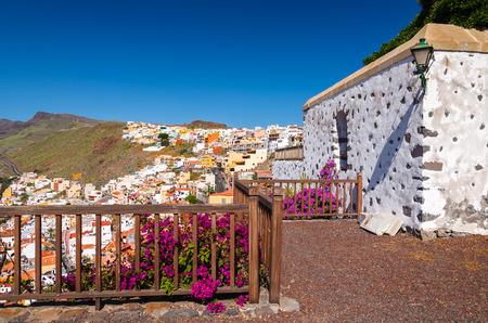 Traditional canary style white house flowers, Playa de Santiago, La Gomera, Canary Islands