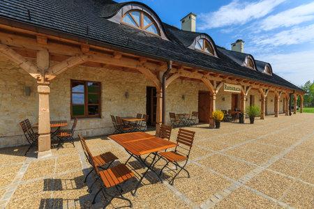 Wooden restaurant in Bobolice castle park, Poland
