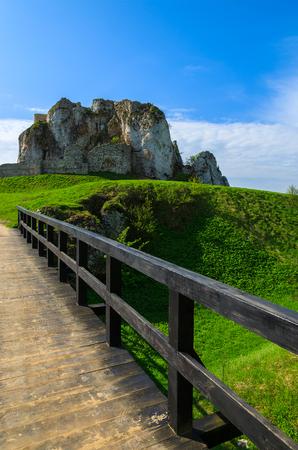 Wooden bridge of Rabsztyn castle in spring time, Poland Stock Photo