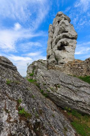 Limestone rocks in spring landscape of Poland near Ogrodzieniec