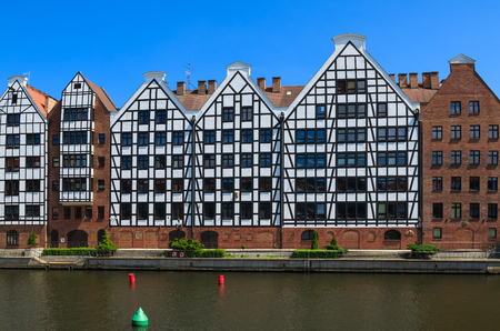 Traditional houses in harbour of Gdansk at Motlawa river, Poland
