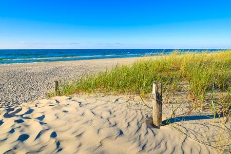 Entrance to beautiful sandy Leba beach, Baltic Sea, Poland