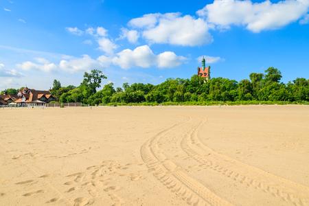 Sandy beach in Sopot town, Baltic Sea, Poland