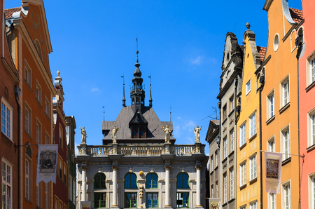 GDANSK, POLAND - JUN 9, 2013: colourful houses on Long Market street in old town of Gdansk, Poland.