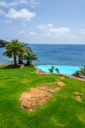 Green grass area with palm trees swimming pool at east coast of Atlantic Ocean, Madeira island, Portugal