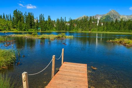 Wooden jetty on Strbske lake in summer, Tatra Mountains, Slovakia