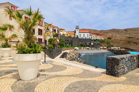 View of colourful houses in a village, Madeira island, Portugal Stock Photo