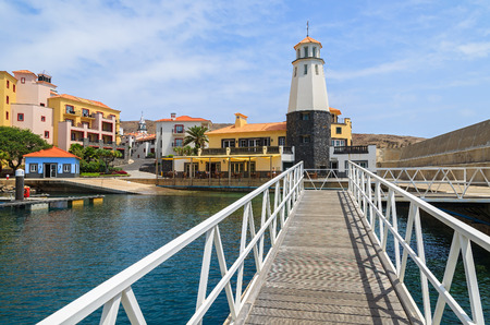 Lighthouse in beautiful port, Madeira island, Portugal Stock Photo