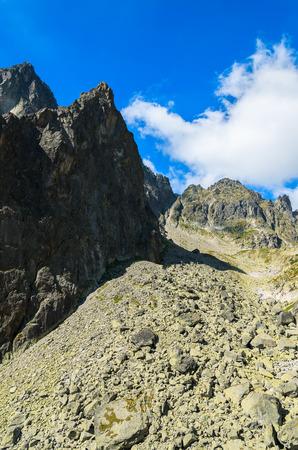 Summer landscape of Tatra Mountains in 5 lakes valley, Slovakia Stock Photo