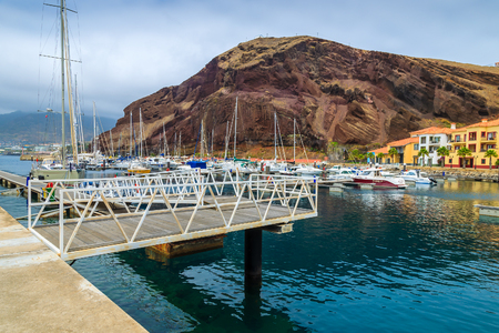 View of yacht port on coast of Madeira island, Portugal