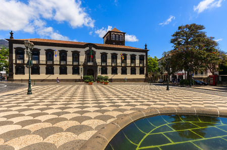 Square with historic buildings in Funchal city, Madeira island