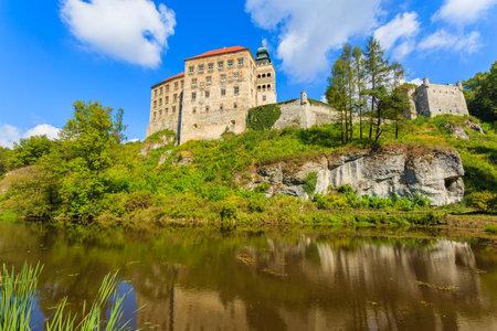 Castle Pieskowa Skala reflection in small lake near Krakow, Poland Editorial