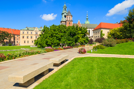 Beautiful Wawel Royal Castle on sunny summer day, Krakow, Poland