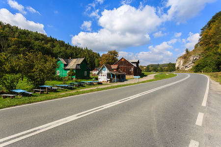 Road from Ojcow to Skala in summer landscape of Poland