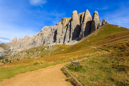 Hiking trail at Passo Sassolungo in Dolomites Mountains, Italy