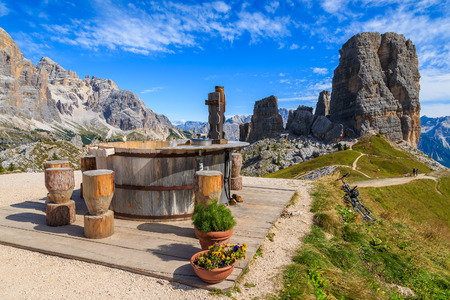 View of Cinque Torri rock formation in Dolomites Mountains