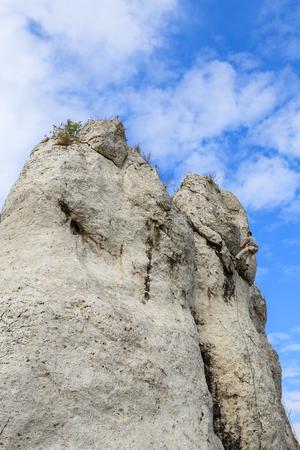 Rock climber on limestone rock near Krakow, Poland Stock Photo