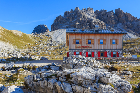 Refuge in Tre Cime National Park, Dolomites Mountains, Italy