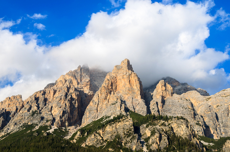 View of Dolomites Mountains from La Villa village, Italy