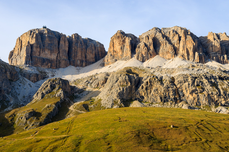 View of Dolomites Mountains at Passo Pordoi in autumn, Italy Stock Photo