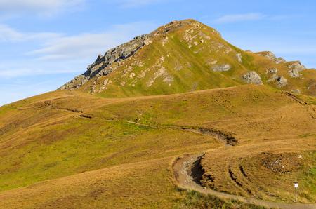 Hiking trail at Passo Pordoi in Dolomites Mountains, Italy