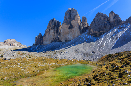 Beautiful lake in Tre Cime National Park, Dolomites Mountains