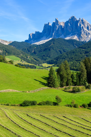 Farming field in Dolomites Mountains in Val di Funes valley