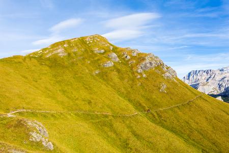 View of alpine valley and trekking path near Passo Pordoi, Dolomites Mountains, Italy