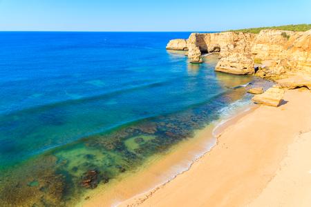 A view of Marinha beach and cliffs on coast of Portugal near Carvoeiro town
