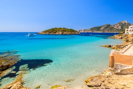 Beautiful beach and sea in Sant Elm village, Majorca island, Spain