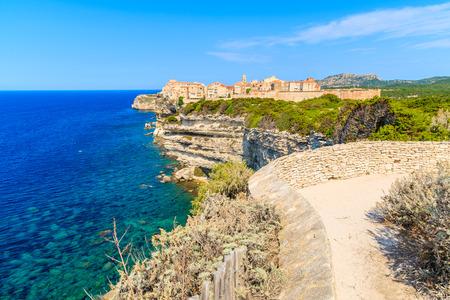 View of Bonifacio town located on high cliff above sea, Corsica island, France Stock Photo
