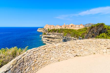Viewpoint near Bonifacio town located on high cliff above sea, Corsica island, France Stock Photo