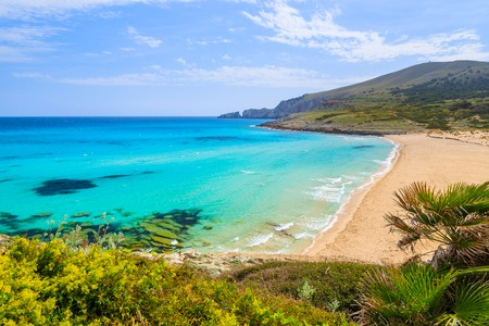 View of sandy Cala Mesquida bay with beach, Majorca island, Spain