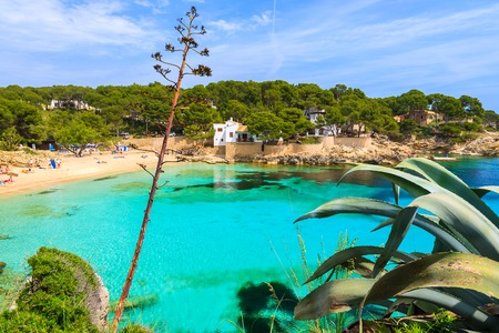 View of beautiful Cala Gat bay with beach, Majorca island, Spain