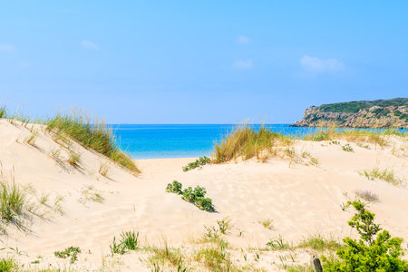 Entrance to Bolonia beach from beautiful sand dune, Andalusia, Spain
