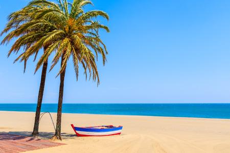 Barca da pesca e palme sulla spiaggia sabbiosa nella città di Estepona sulla Costa del Sol, Spagna