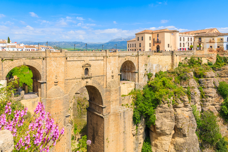 Famous bridge Puente Nuevo linking two parts of Ronda town, Andalusia, Spain