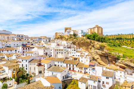White houses in beautiful village of Sentinel de las Bodegas, Andalusia, Spain Stock Photo
