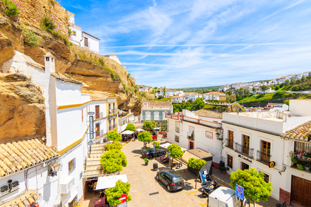 SENTINEL DE LAS BODEGAS, SPAIN - MAY 13, 2018: Street in beautiful white village with typical Andalusian architecture. Spain is second most visited by tourists country in Europe. Editorial