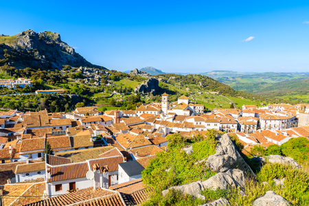 Rooftops of Grazalema village at sunset time, Andalusia, Spain