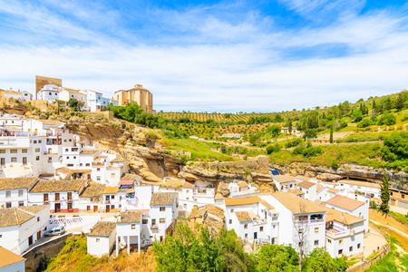 White houses in beautiful village of Sentinel de las Bodegas, Andalusia, Spain 写真素材
