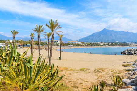 View of beautiful beach with palm trees in Marbella near Puerto Banus marina, Andalusia, Spain Banco de Imagens