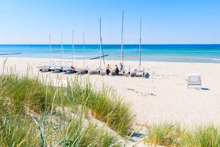 Sailing boats on sandy beach in Kloster village, Hiddensee island, Baltic Sea, Germany