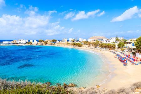Beautiful beach with amazing sea colors in Lefkos village on coast of Karpathos island, Greece